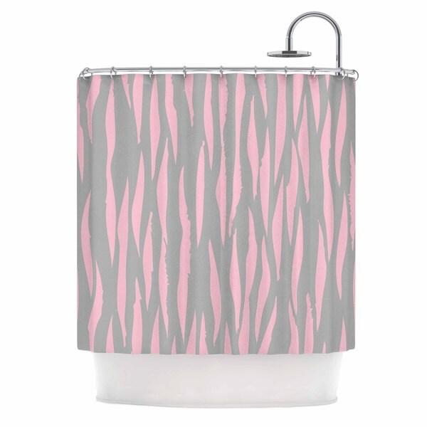 KESS InHouse Wildlife Pink Animal Print 12 Gray Painting Shower Curtain (69x70)