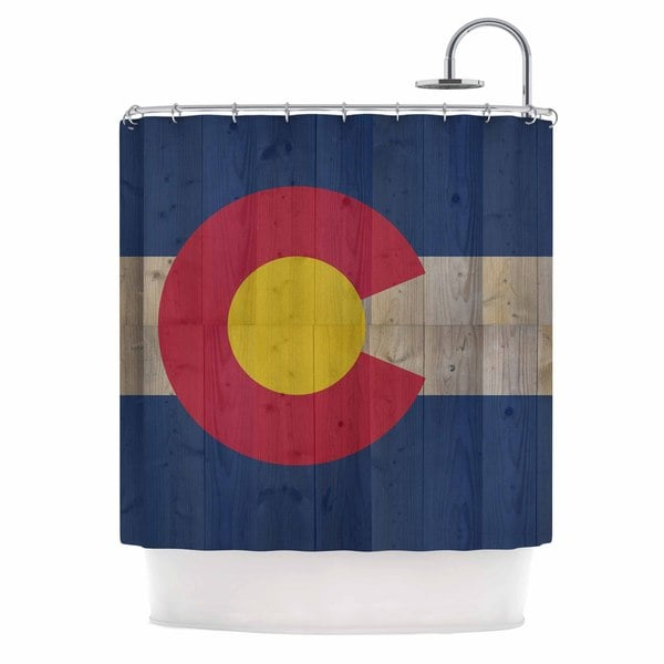 KESS InHouse Bruce Stanfield Flag of Colorado Blue Red Shower Curtain (69x70)