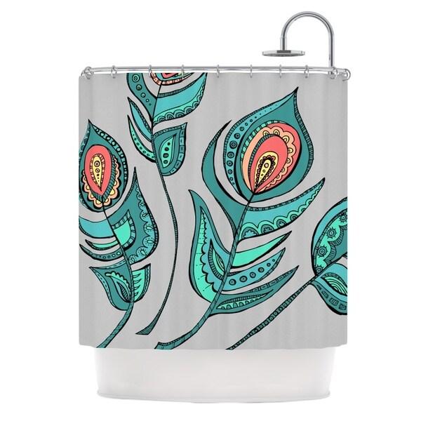 KESS InHouse Brienne Jepkema Feathers Gray Grey Teal Shower Curtain (69x70)