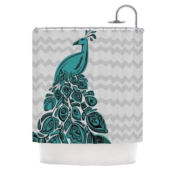 KESS InHouse Brienne Jepkema Peacock Blue Shower Curtain (69x70)
