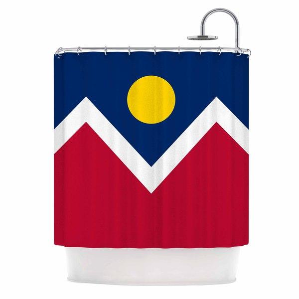 "KESS InHouse Bruce Stanfield ""Denver Colorado City Flag"" Vector Geometric Shower Curtain (69x70) - 69"" x 70"""