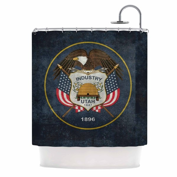 KESS InHouse Bruce Stanfield Vintage Utah Red Blue Shower Curtain (69x70)