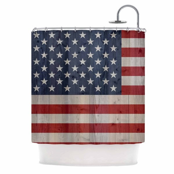 KESS InHouse Bruce Stanfield USA Flag On Spruce Blue Red Shower Curtain (69x70)