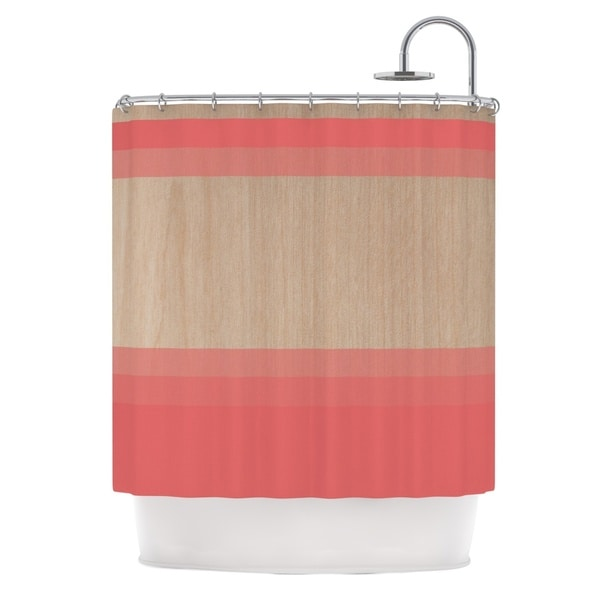 KESS InHouse Brittany Guarino Art Red Pink Wood Shower Curtain (69x70)