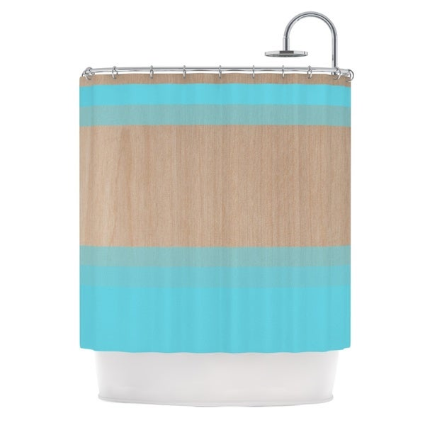 KESS InHouse Brittany Guarino Art Blue Aqua Wood Shower Curtain (69x70)
