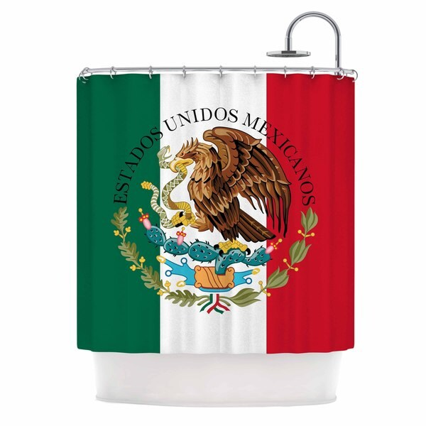 KESS InHouse Bruce Stanfield Mexico Flag And Coat Of Arms Red Green Shower Curtain (69x70)