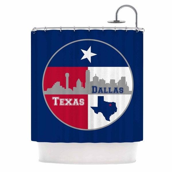KESS InHouse Bruce Stanfield Dallas Texas Red Blue Shower Curtain (69x70)