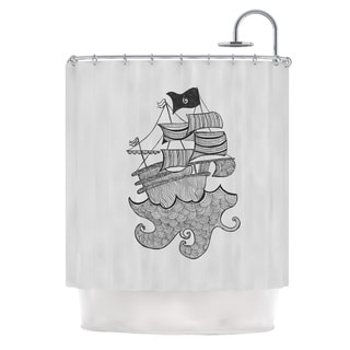 KESS InHouse Belinda Gilles Ships Ahoy Gray Nautical Shower Curtain (69x70)