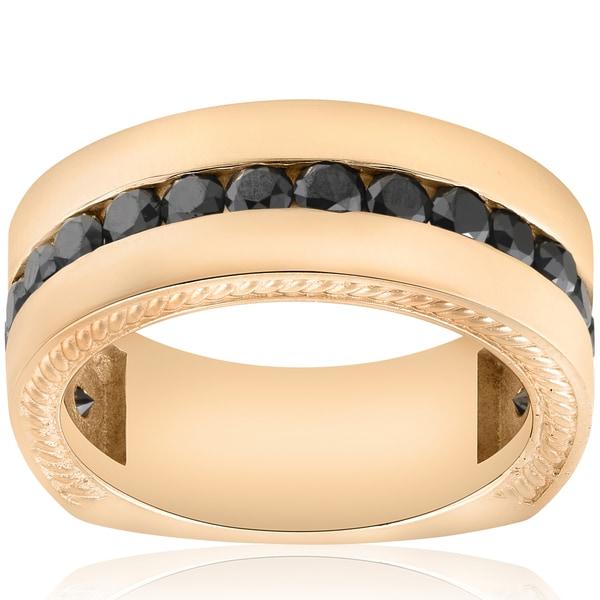 10k Yellow Gold 2 5/8 ct TDW Black Diamond Men's Rope Wedding Ring