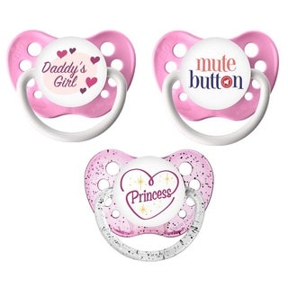 Ulubulu Baby Girl Classic Expression Pacifier 0-6 Months (3 Pack)