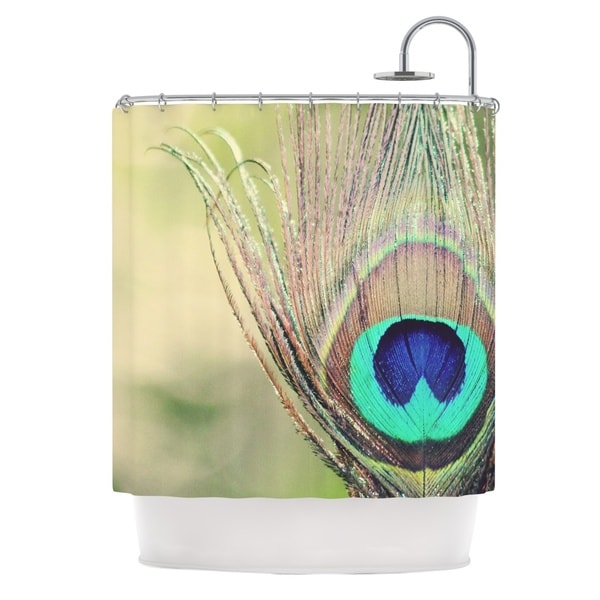 KESS InHouse Beth Engel Sun Kissed Peacock Feather Shower Curtain 69x70