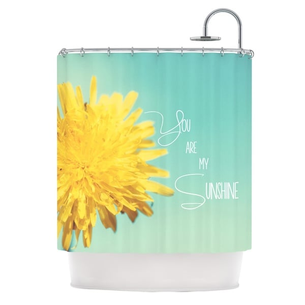 KESS InHouse Beth Engel You Are My Sunshine Teal Flower Shower Curtain (69x70)