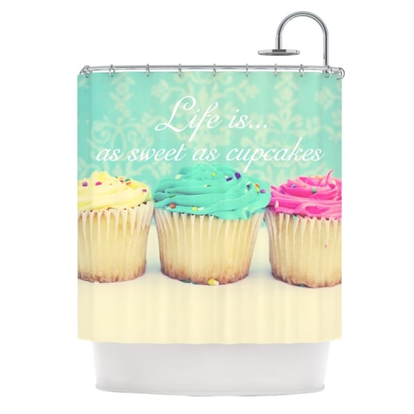 KESS InHouse Beth Engel Life Is As Sweet As Cupcakes Green Shower Curtain (69x70)