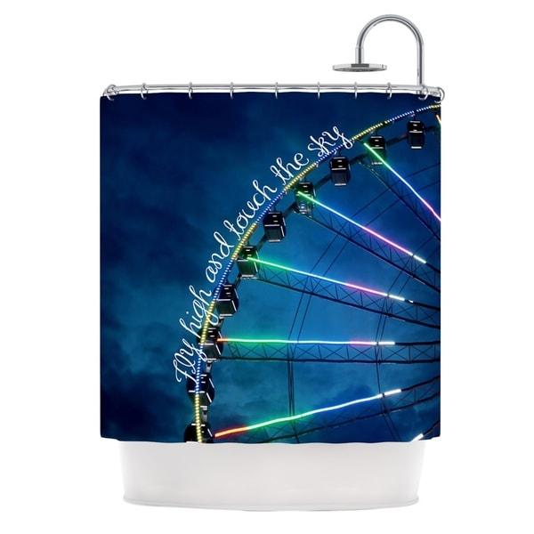 KESS InHouse Beth Engel Fly High And Touch The Sky Navy Blue Shower Curtain (69x70)