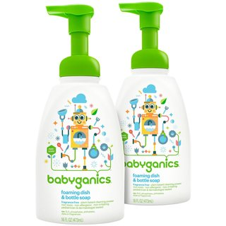 Babyganics Fragrance Free 16-ounce Foaming Dish and Bottle Soap (2 Pack)