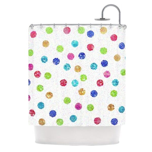 KESS InHouse Beth Engel Seeing Dots Rainbow White Shower Curtain (69x70)