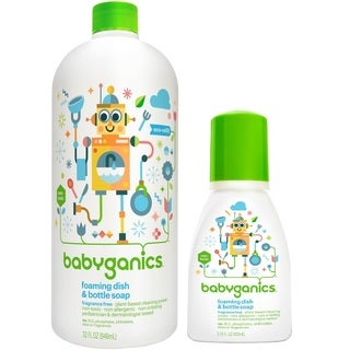 Babyganics Fragrance Free Foaming Dish and Bottle Soap Pump Bottle with 32-ounce Refill Kit