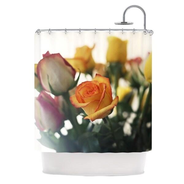 KESS InHouse Beth Engel Sweet Reminder Flowers Yellow Shower Curtain (69x70)