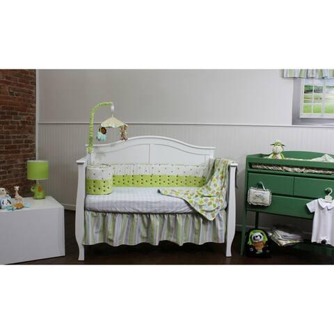 Basix Blue Striped Birdies 4-piece Bedding Set