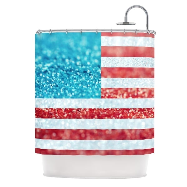 KESS InHouse Beth Engel Red White and Glitter Flag Shower Curtain (69x70)
