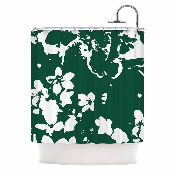 KESS InHouse Love Midge Helena Floral Green  White Abstract Shower Curtain (69x70)