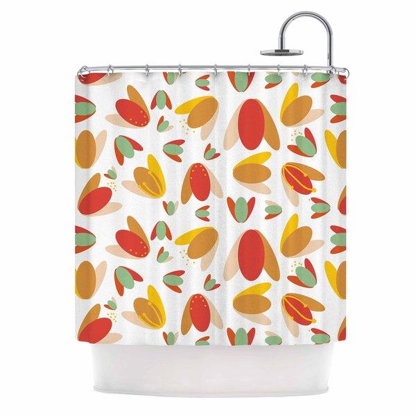 "KESS InHouse Love Midge ""70's Retro Floral"" Orange Nature Shower Curtain (69x70) - 69 x 70"