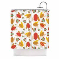"KESS InHouse Love Midge ""70's Retro Floral"" Orange Nature Shower Curtain (69x70) - 69 x 70"