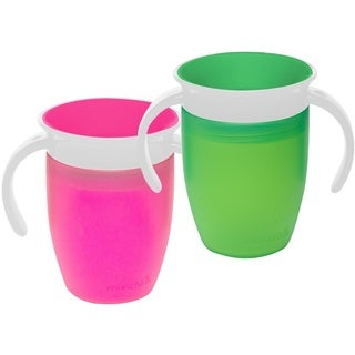 Munchkin Pink/Green 7-ounce Miracle 360 Trainer Cup (2 Count)