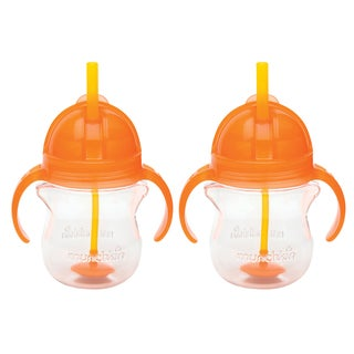Munchkin Orange 7-ounce Click Lock Weighted Flexi-Straw Cup (2 Pack)
