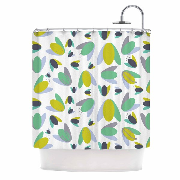 KESS InHouse Love Midge 1970s Floral Geometric Neon Yellow Abstract Shower Curtain 69x70