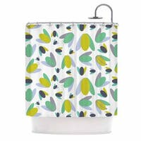 "KESS InHouse Love Midge ""1970s Floral Geometric Neon"" Yellow Abstract Shower Curtain (69x70) - 69 x 70"