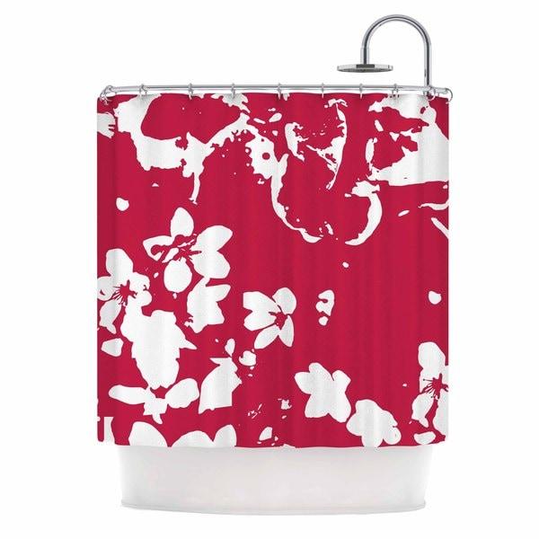 KESS InHouse Love Midge Helena Floral Magenta Red White Shower Curtain (69x70)