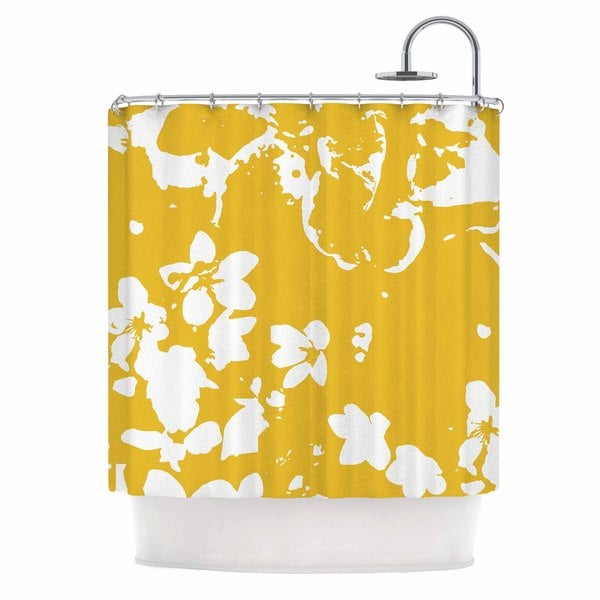 KESS InHouse Love Midge Helena Floral Yellow Golden White Shower Curtain (69x70)