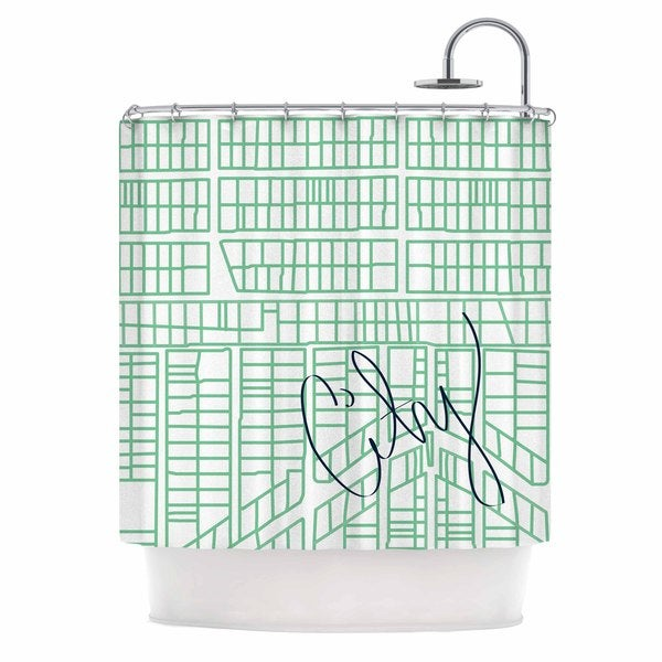 KESS InHouse Love Midge Teal City Streets & Parcels Green White Shower Curtain (69x70)