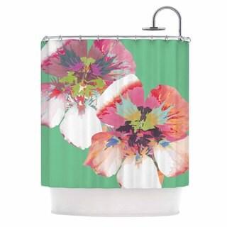 KESS InHouse Love Midge Graphic Flower Nasturtium Mint Green Magenta Shower Curtain (69x70)