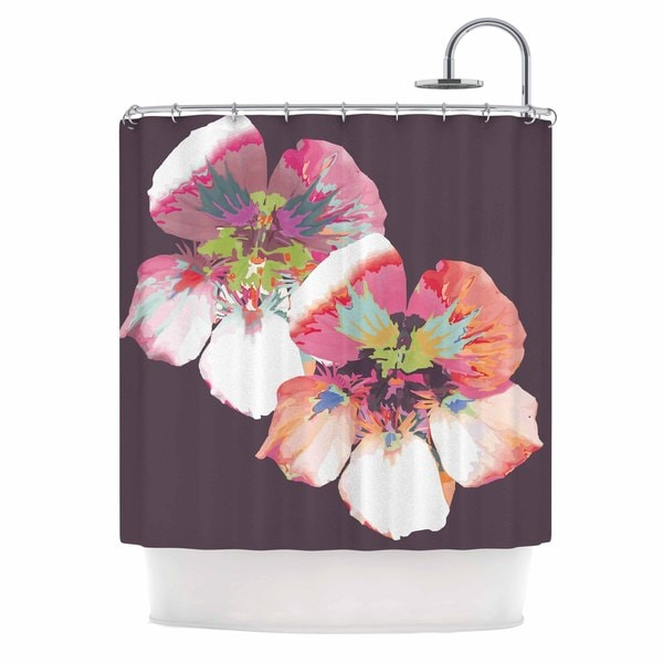 KESS InHouse Love Midge Graphic Flower Nasturtium Floral Lavender Shower Curtain (69x70)