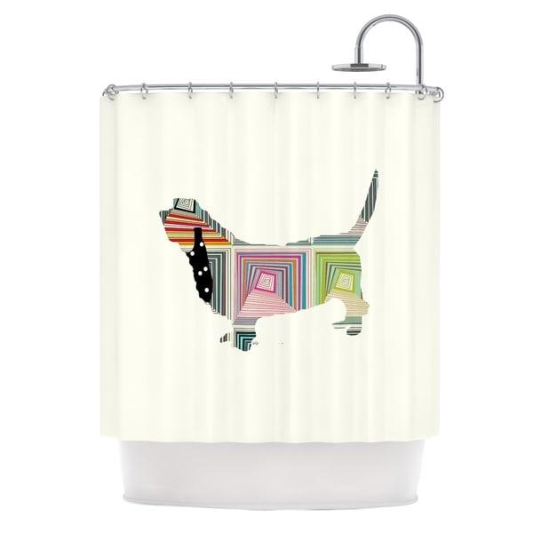 KESS InHouse Bri Buckley Basset White Rainbow Shower Curtain (69x70)