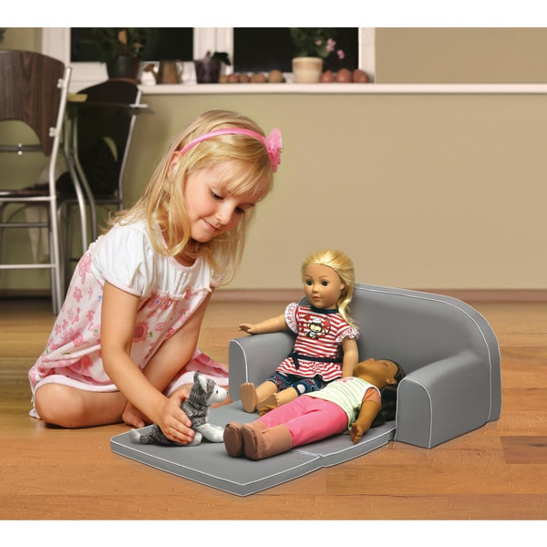 Badger Basket Executive Gray Upholstered Doll Sofa with Foldout Bed and Storage Pockets