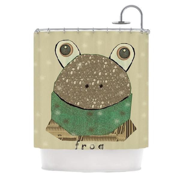 KESS InHouse Bri Buckley Frog Tan Green Shower Curtain (69x70)