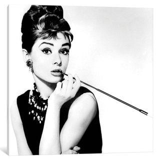 iCanvas 'Breakfast At Tiffany's Series: Audrey Hepburn Smoking' by Radio Days Canvas Print