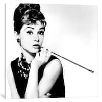 iCanvas 'Breakfast At Tiffany's Series: Audrey Hepburn Smoking' by Radio Days Canvas Print