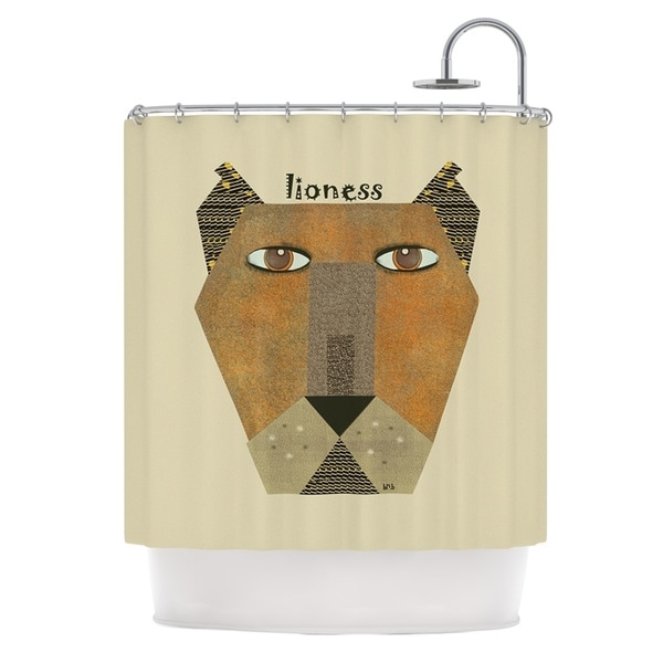KESS InHouse Bri Buckley Lioness Tan Yellow Shower Curtain (69x70)