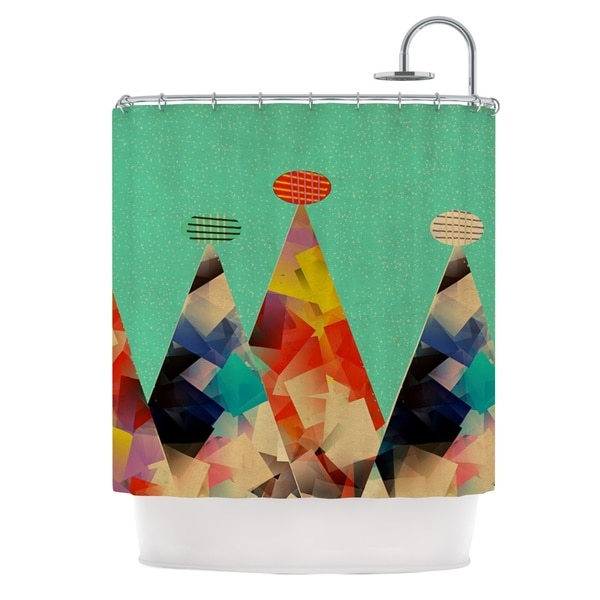 KESS InHouse Bri Buckley Rainbow Peaks Teal Triangles Shower Curtain (69x70)