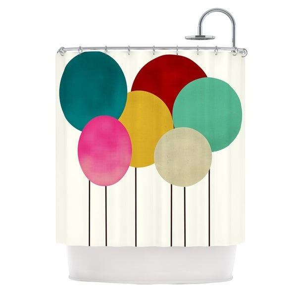 KESS InHouse Bri Buckley Celebration Rainbow Circles Shower Curtain (69x70)