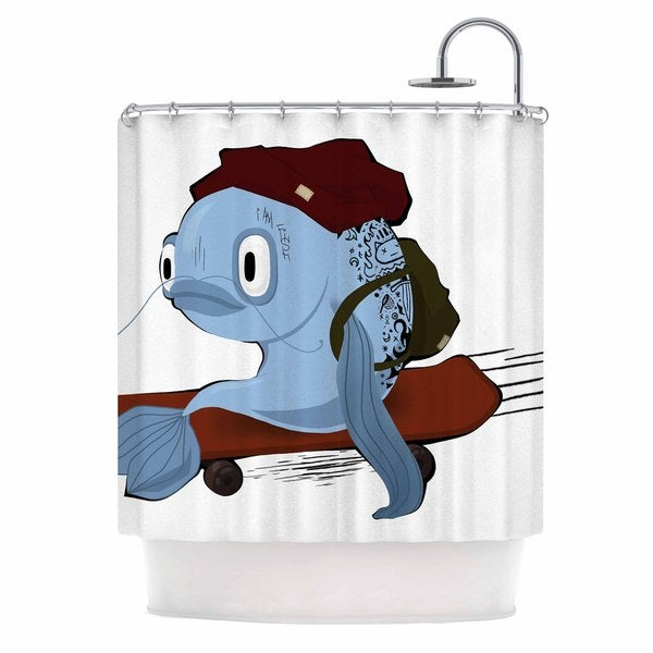 KESS InHouse Anya Volk Fish Skateborder Blue Red Shower Curtain (69x70)
