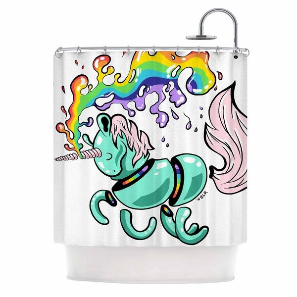 KESS InHouse Anya Volk Gummy Unicorn Teal Pink Shower Curtain (69x70)