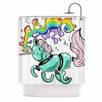 KESS InHouse Anya Volk Gummy Unicorn Teal Pink Shower Curtain (69x70)