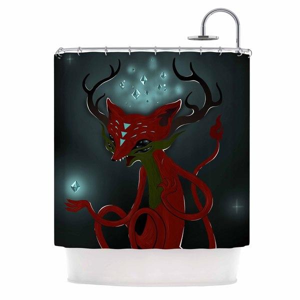 KESS InHouse Anya Volk Magic Fox Teal Fantasy Shower Curtain (69x70)