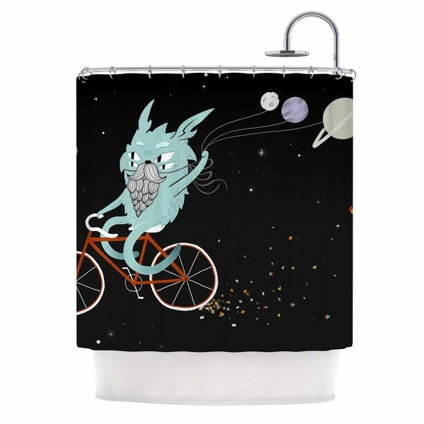 KESS InHouse Anya Volk Bunny In Space Red Fantasy Shower Curtain (69x70)