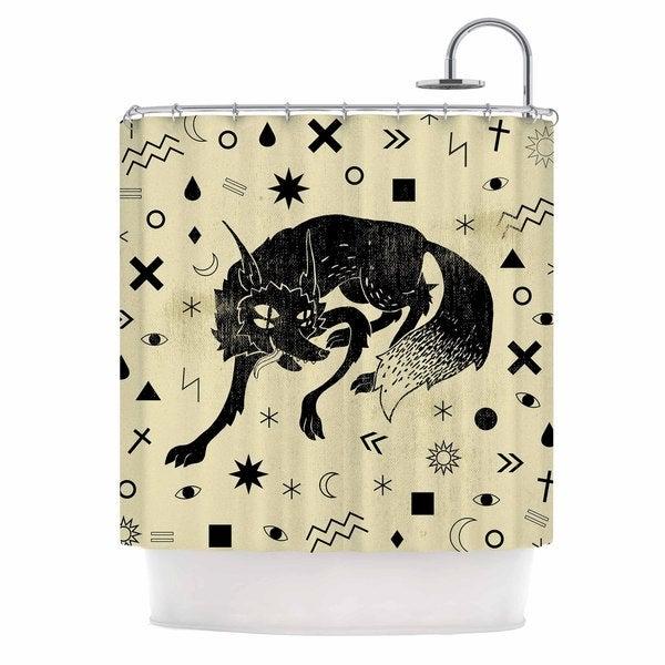 KESS InHouse Anya Volk Wolf Beige Illustration Shower Curtain (69x70)
